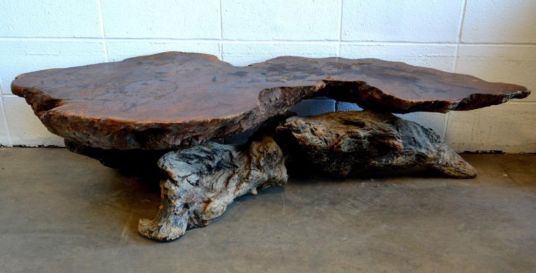 "Mid century burl wood coffee table - 59""L x 26""W x 13""H"