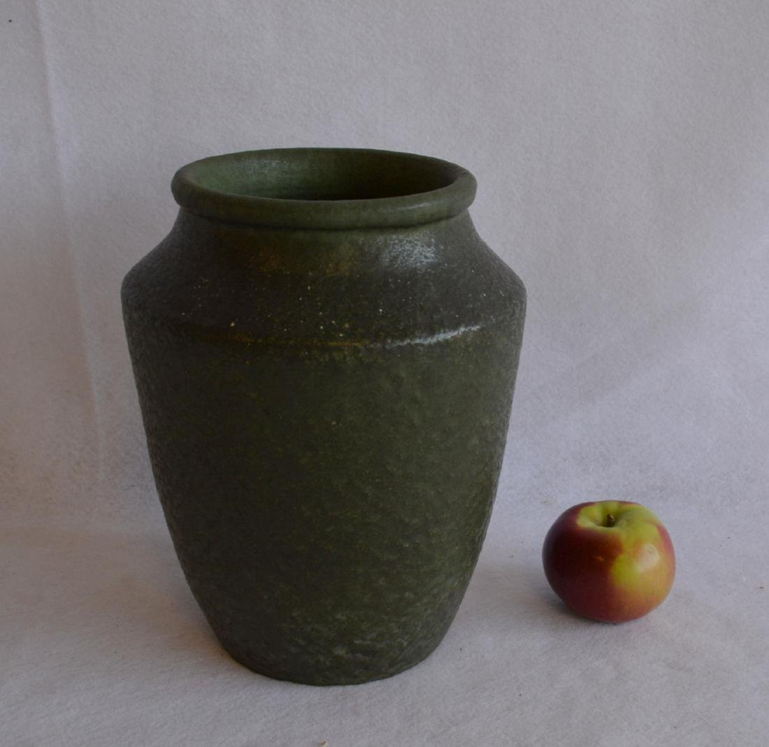 Signed Grueby vase with mat green finish - original
