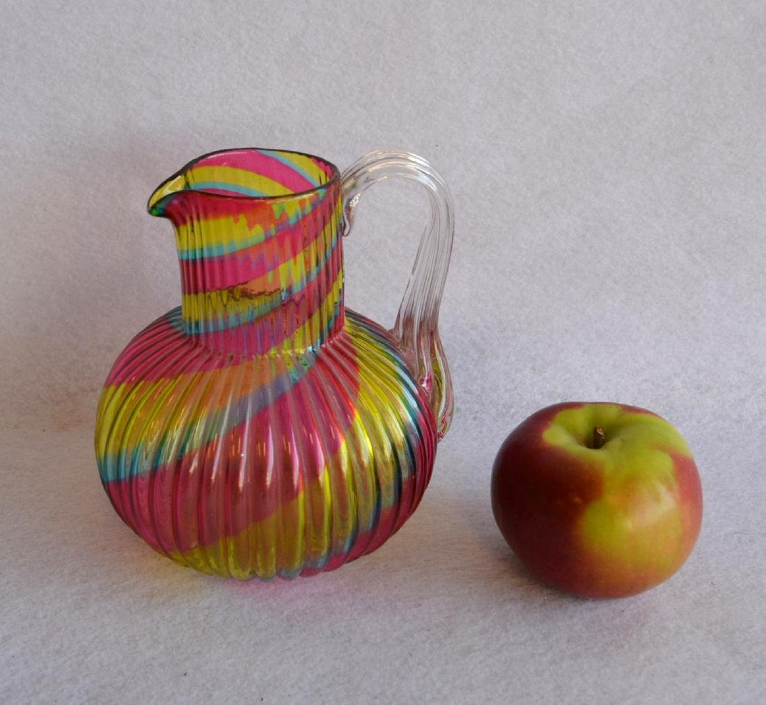 Art glass pitcher with applied handle ribbed rainbow - 2