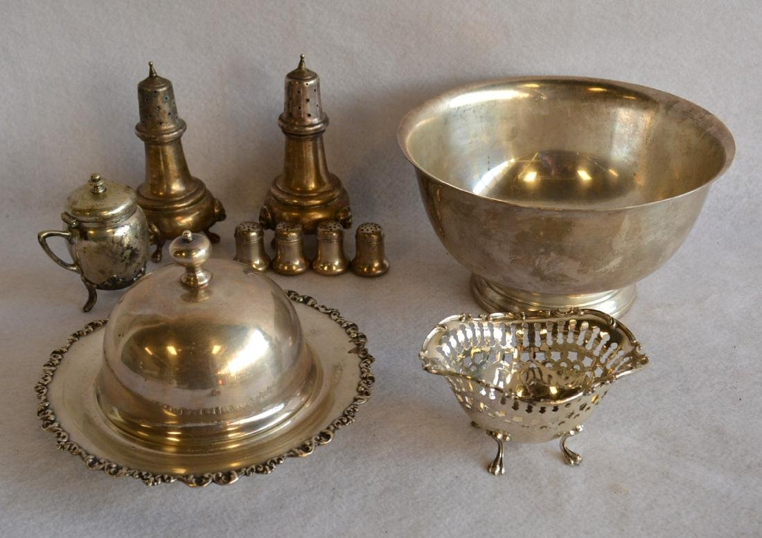 Grouping of sterling silver objects including a