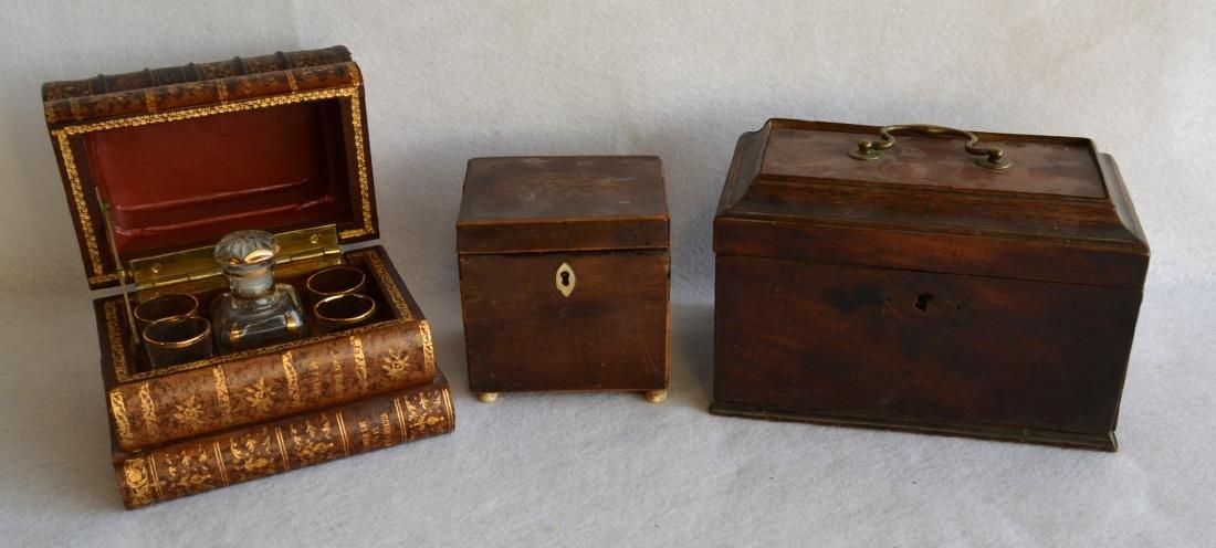Grouping of 3 decorative items: 1) Liquor set hidden