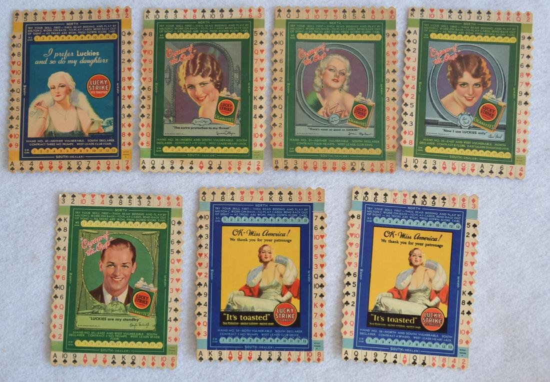 Grouping of 7 unused Lucky Strike Tobacco bridge card
