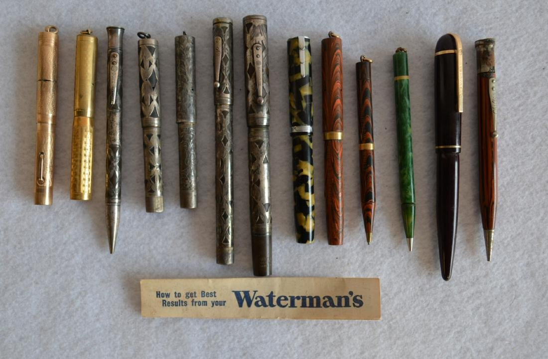 Grouping of 13 vintage fountain and lead pens including
