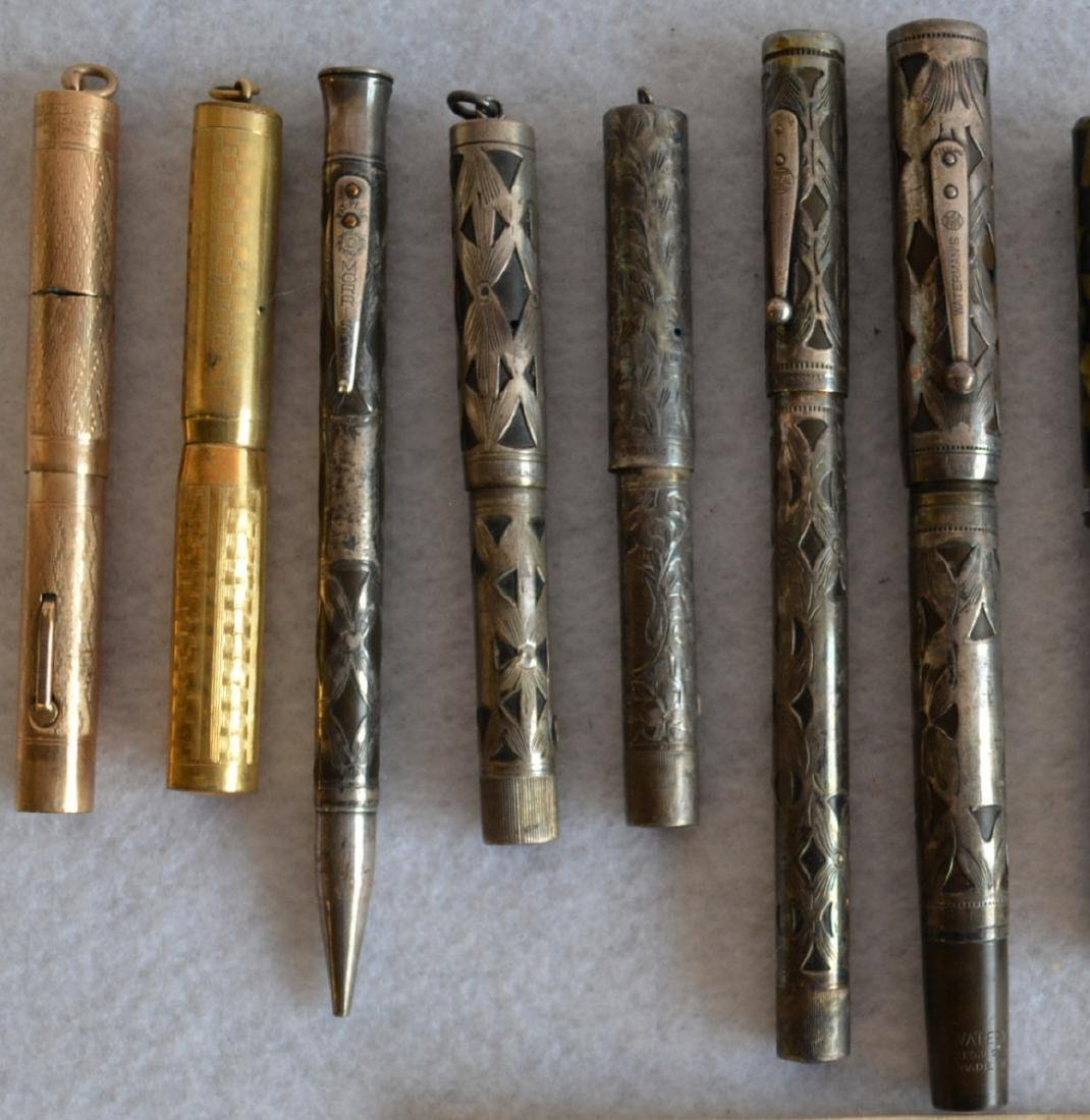 Grouping of 13 vintage fountain and lead pens including - 2