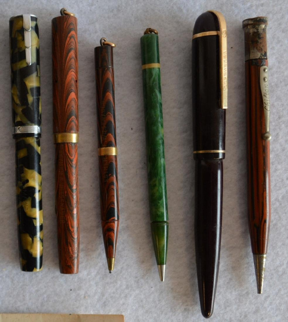 Grouping of 13 vintage fountain and lead pens including - 3