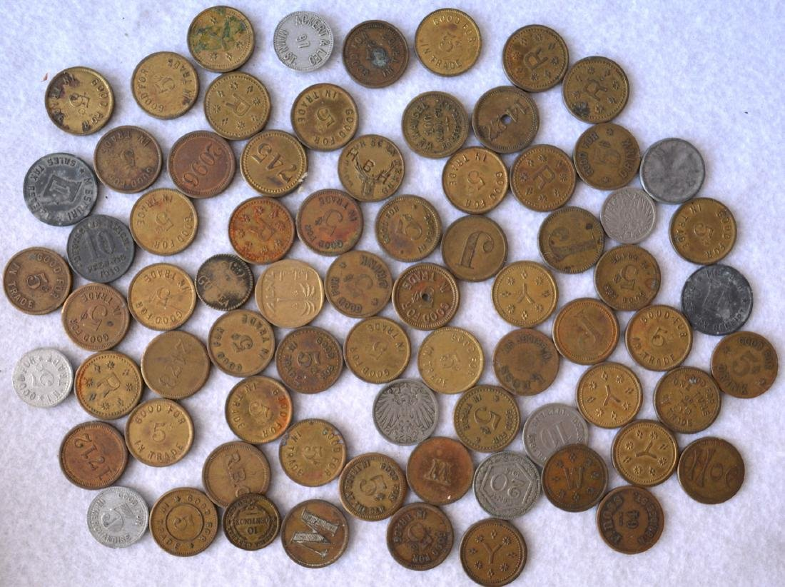 """Grouping of 70 trade tokens, """"Good For 5 Cents in Trade"""