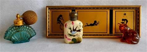 Grouping of 4 decorative items: 1) Three framed Art