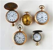 Grouping 5 pocket watches including gold plated signed