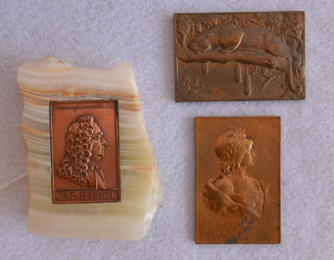 Three bronze miniature plaques including French lady