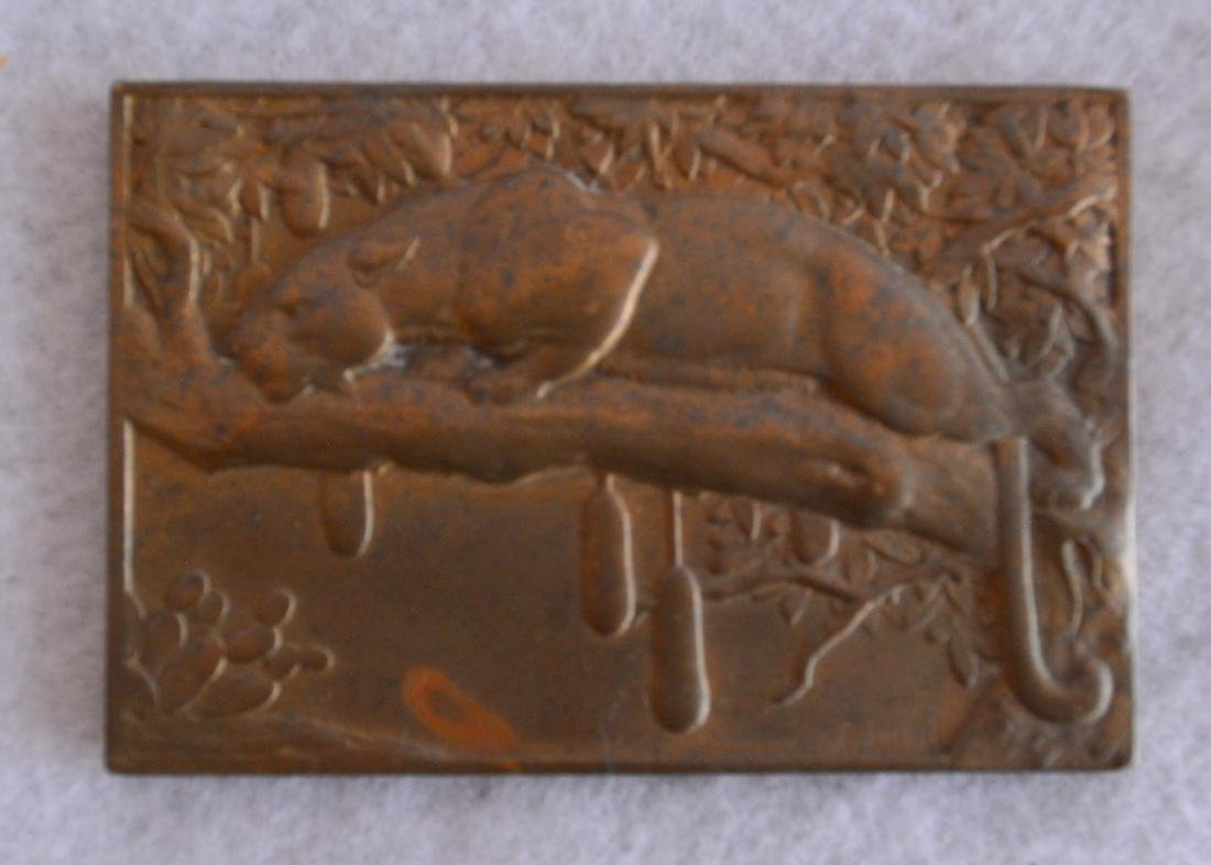 Three bronze miniature plaques including French lady - 3