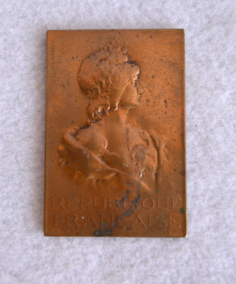 Three bronze miniature plaques including French lady - 4