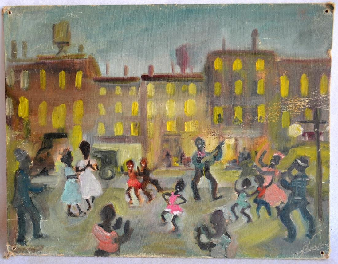 O/B Modernistic city scene with African American