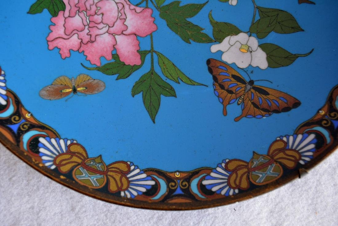 Cloissonne plate decorated with flowers and butterflies - 2