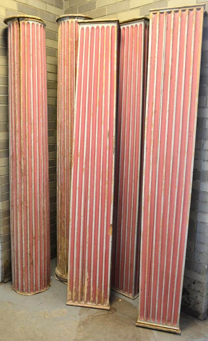 Grouping of 5 fluted architectural wooden columns in
