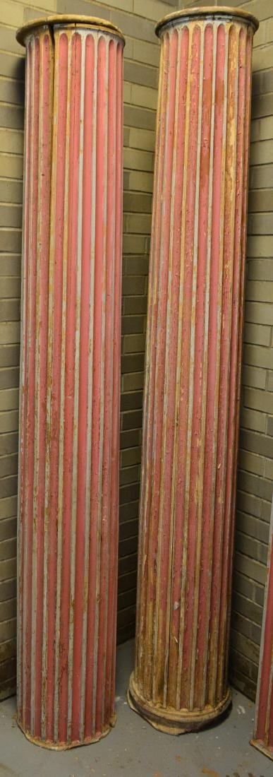 Grouping of 5 fluted architectural wooden columns in - 2