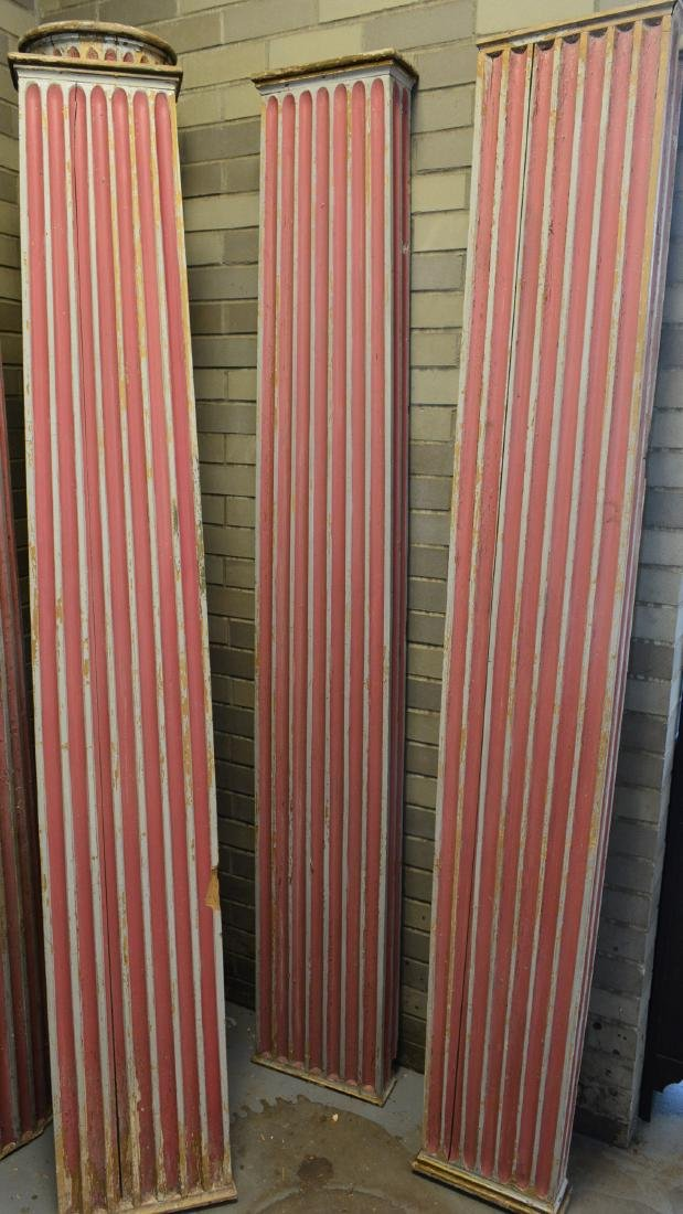 Grouping of 5 fluted architectural wooden columns in - 3