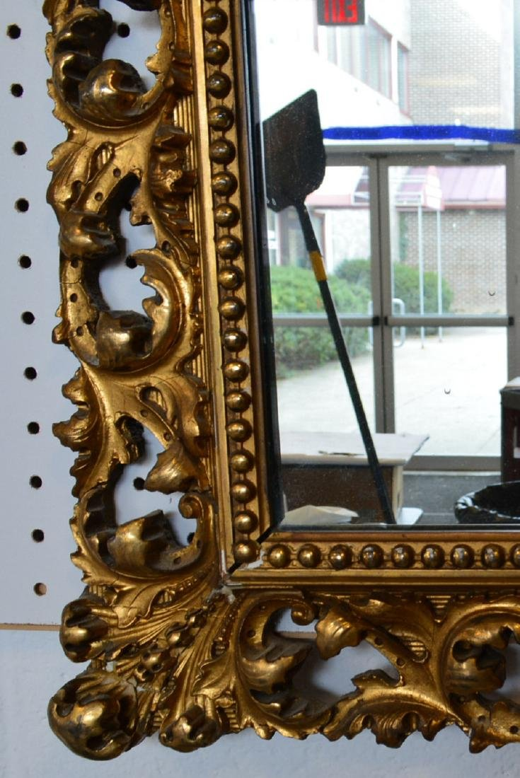 Large ornate mirror with original pierced gilt over - 2