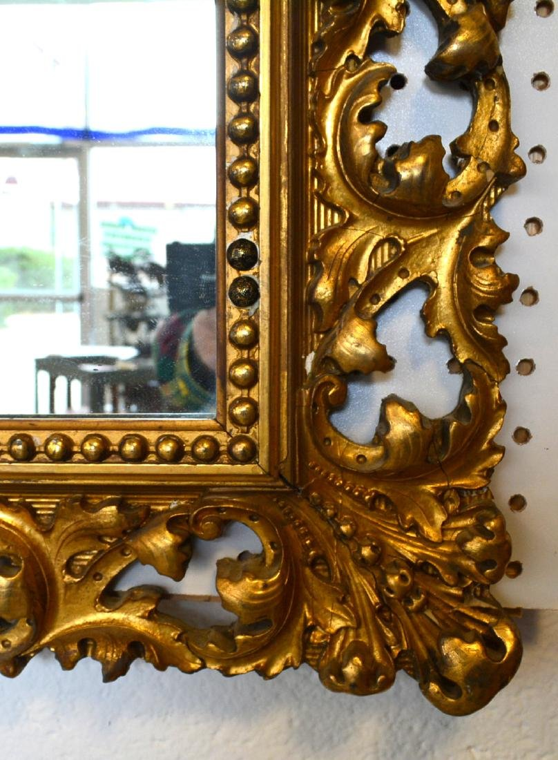 Large ornate mirror with original pierced gilt over - 3