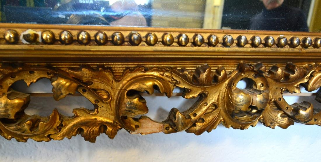 Large ornate mirror with original pierced gilt over - 4