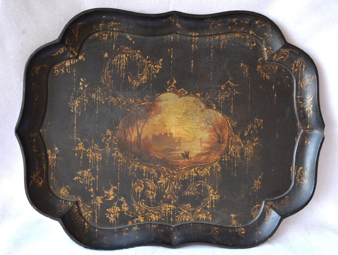 Victorian hand painted paper mache serving tray on