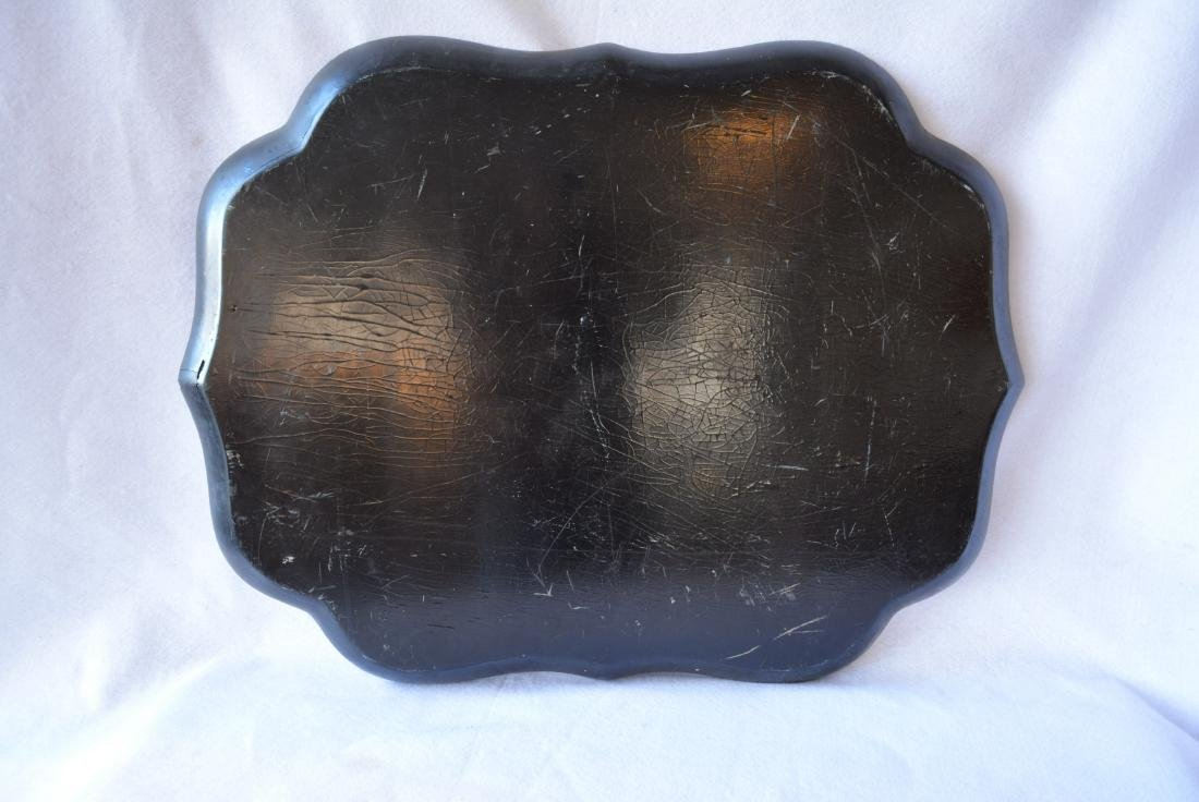 Victorian hand painted paper mache serving tray on - 3