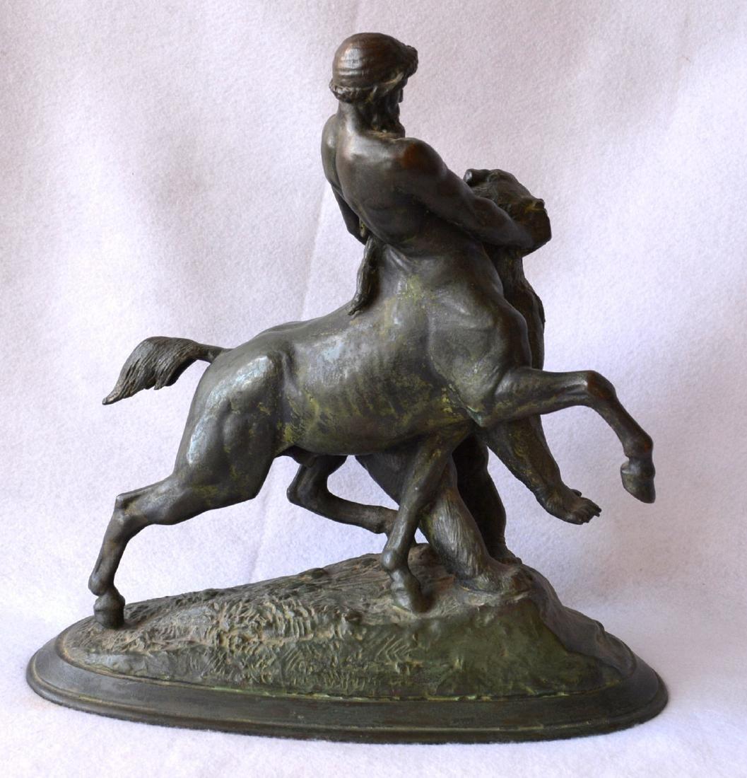 Bronze sculpture of a mythological centaur wrestling a - 4