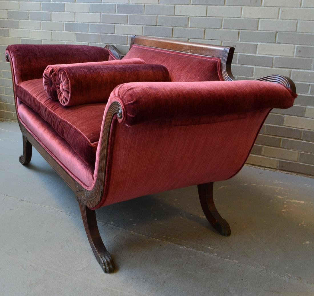 Classical red velvet Duncan Phyfe style love seat with - 5