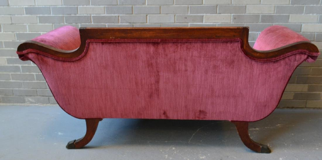 Classical red velvet Duncan Phyfe style love seat with - 6