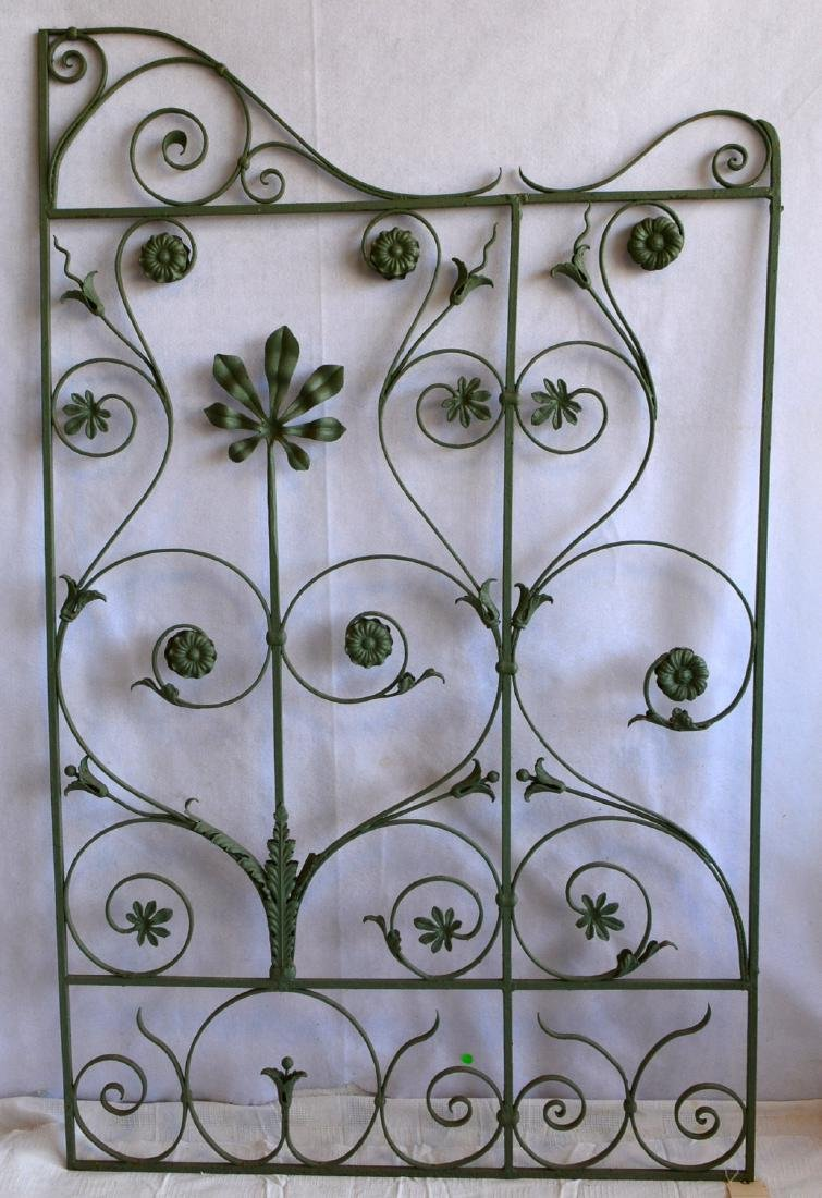 Single section of cast iron garden fencing in floral