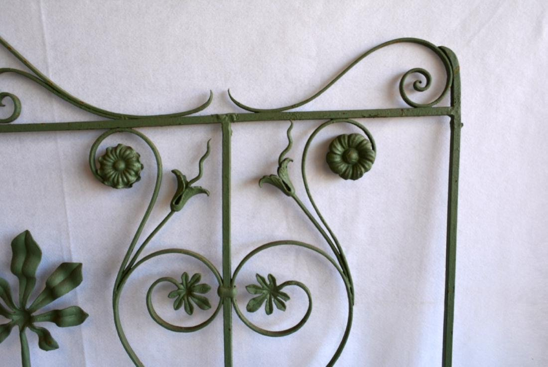 Single section of cast iron garden fencing in floral - 2