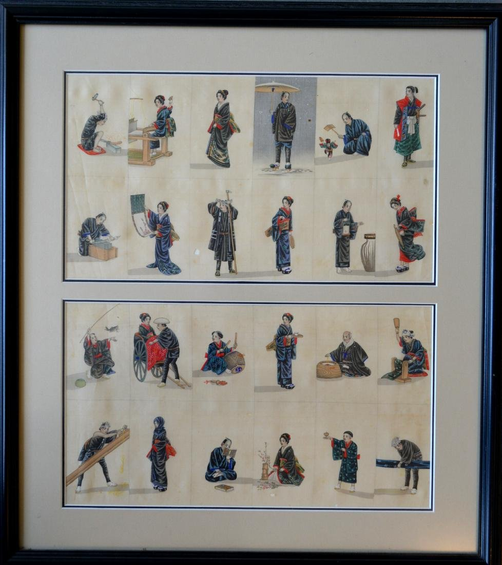 Oriental artwork: Pair of matching hand painted framed - 2