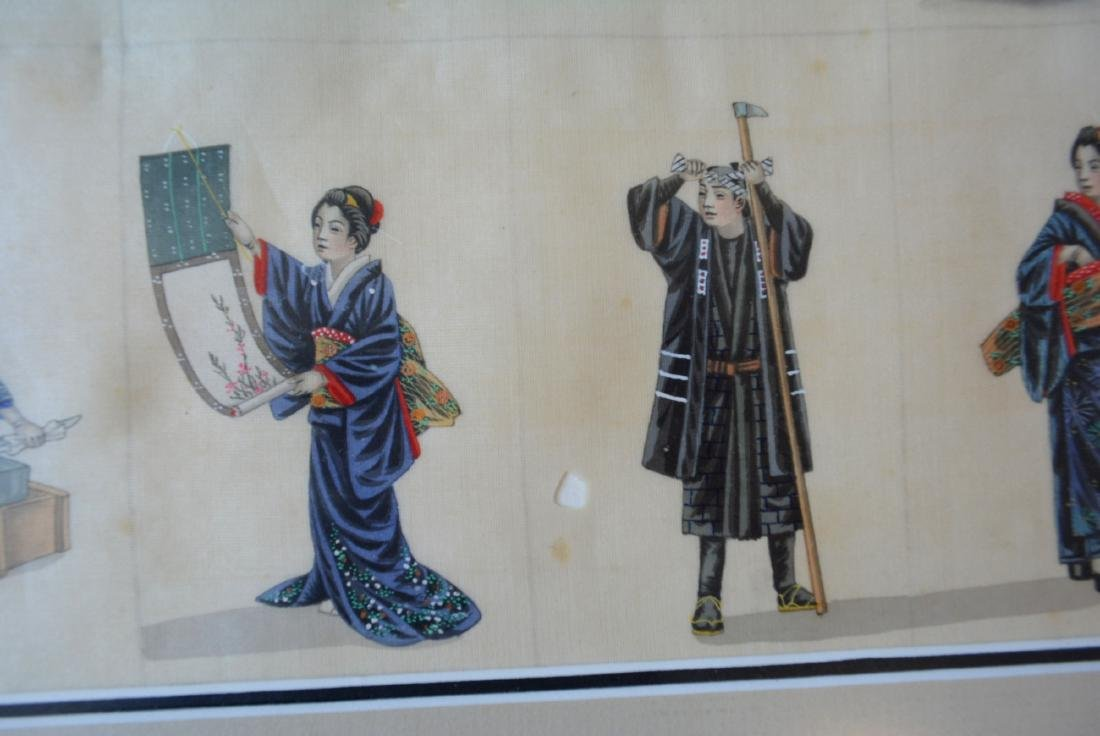 Oriental artwork: Pair of matching hand painted framed - 9