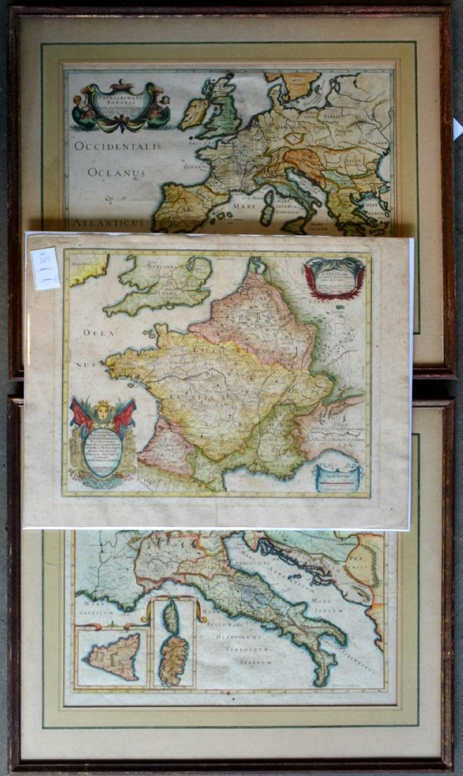 Three 17th century hand colored maps including: 1)