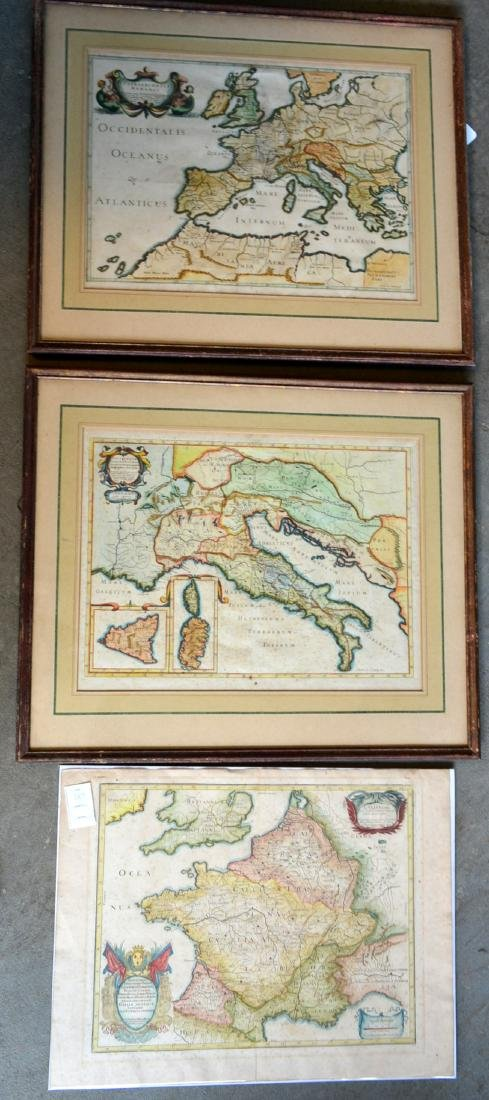 Three 17th century hand colored maps including: 1) - 2