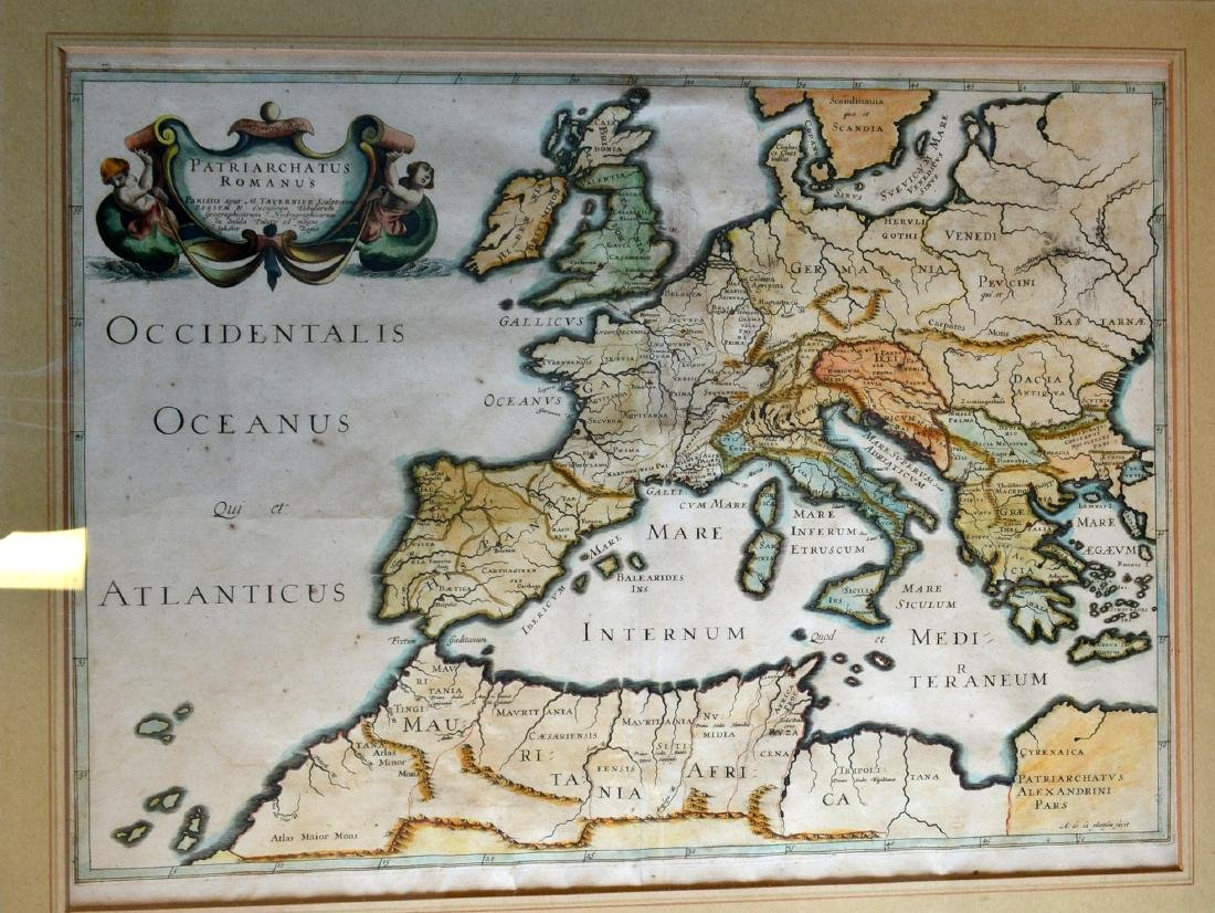 Three 17th century hand colored maps including: 1) - 3