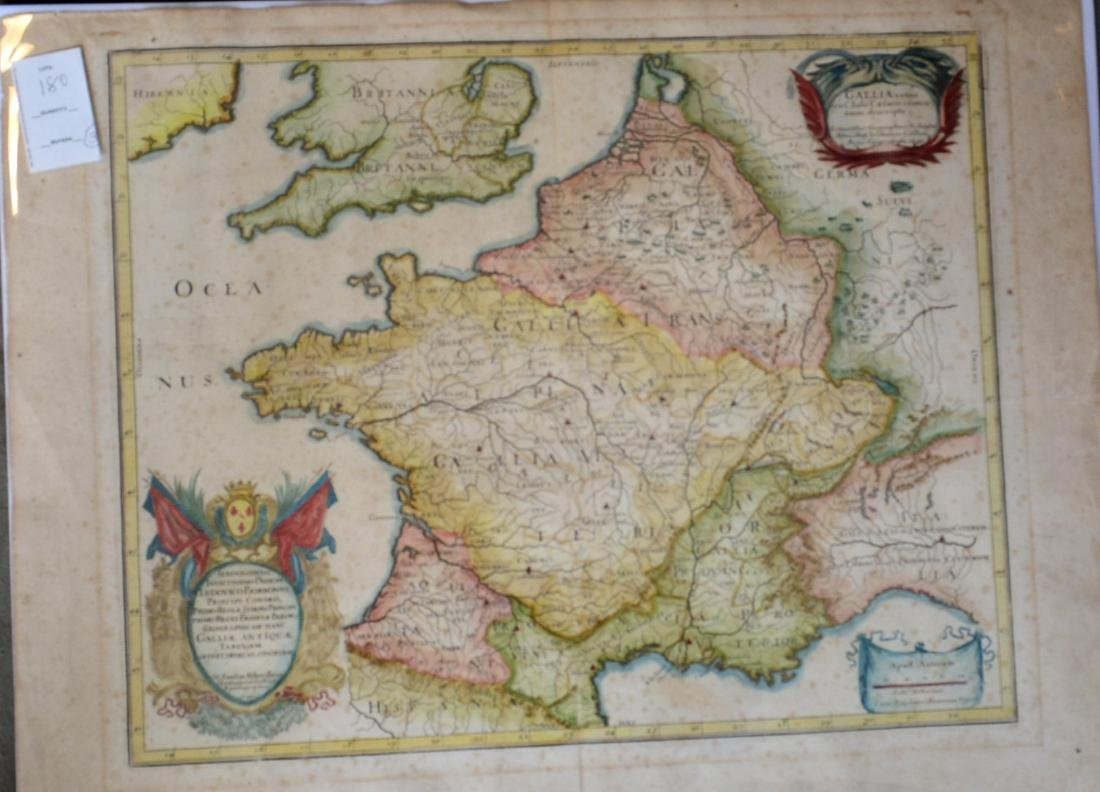 Three 17th century hand colored maps including: 1) - 7