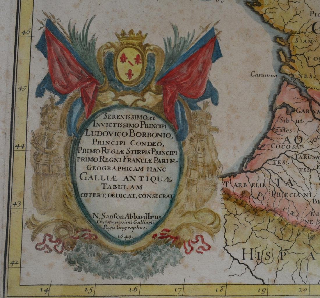 Three 17th century hand colored maps including: 1) - 8