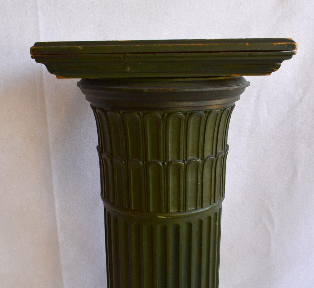 A fluted wooden pedestal with a revolving  top – - 3