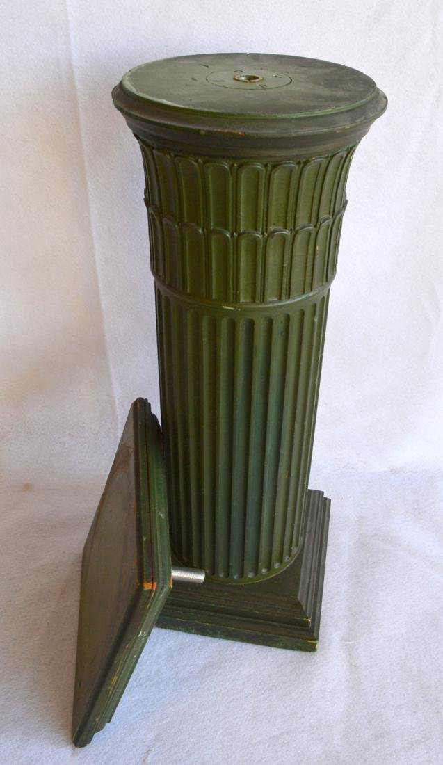 A fluted wooden pedestal with a revolving  top – - 5