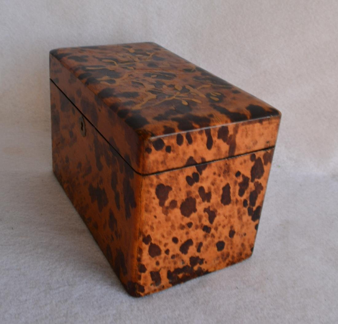 Oriental lacquered tea caddy decorated with faux - 3