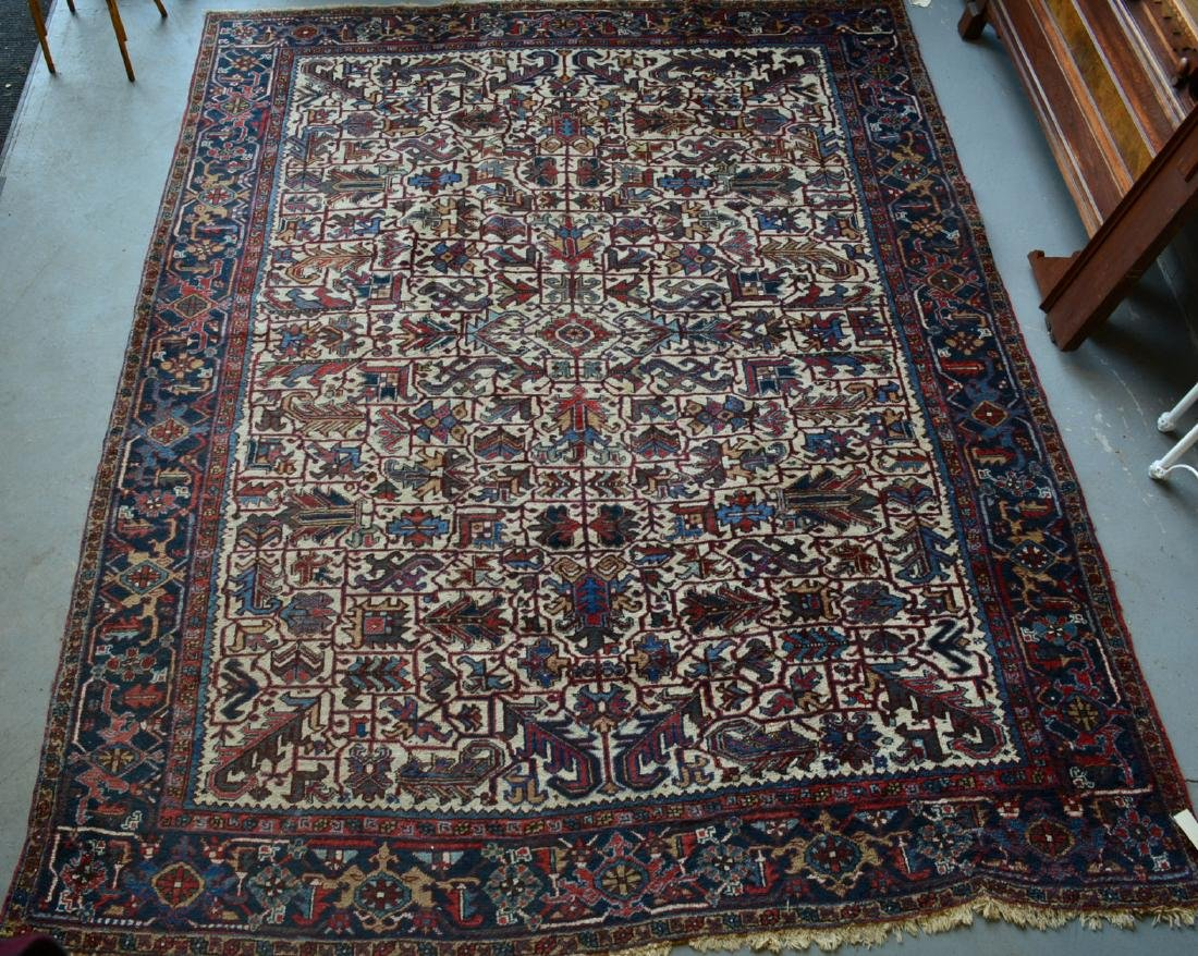 "Oriental room size rug, some losses and wear – 8' 8"" x"