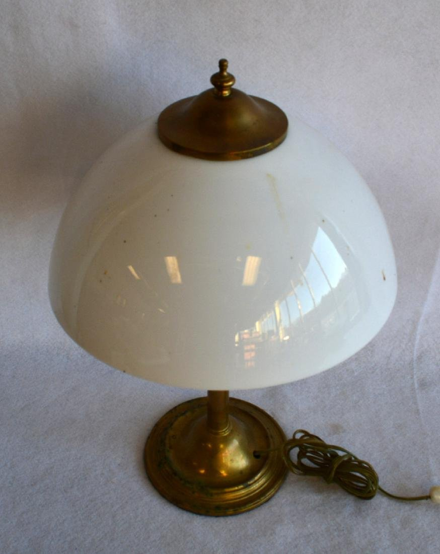Brass clad table lamp with original opaque white glass - 2