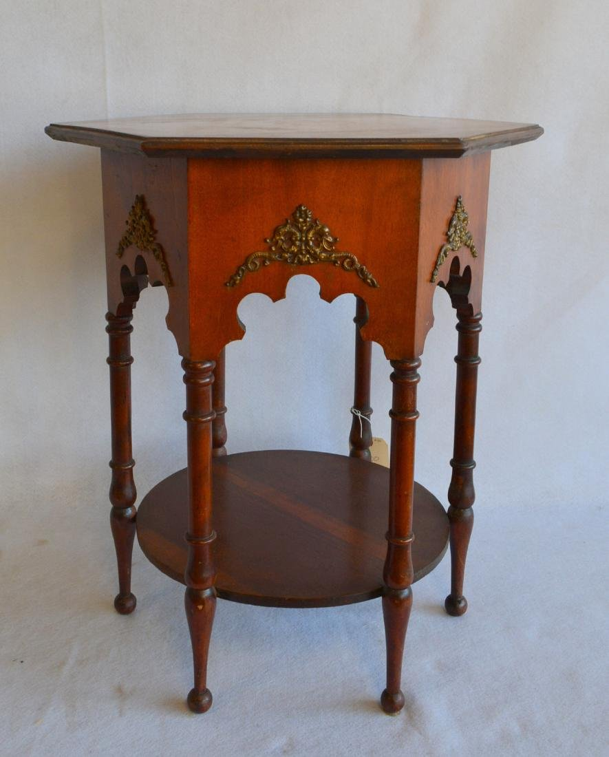 Hexagonal Arts & Crafts birch end table with turned