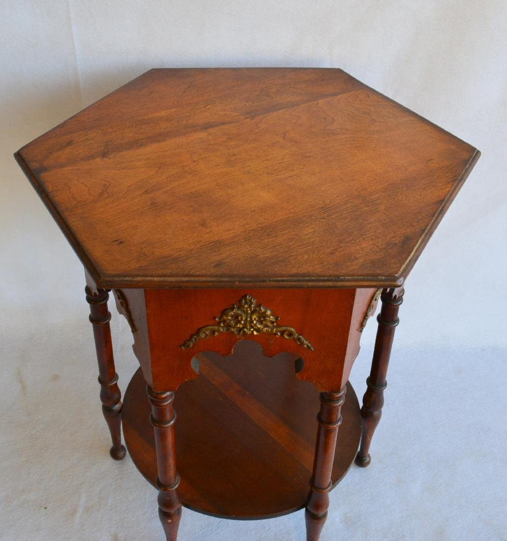 Hexagonal Arts & Crafts birch end table with turned - 2