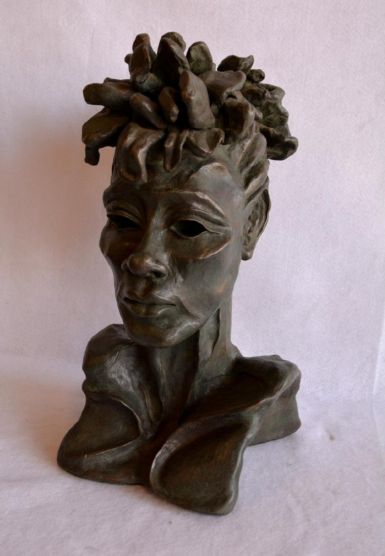 Plaster bust of an African American woman signed Carol - 2