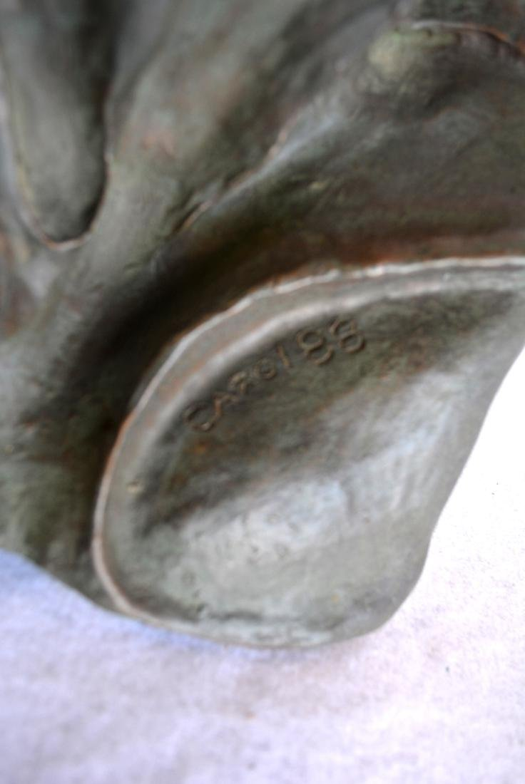 Plaster bust of an African American woman signed Carol - 3