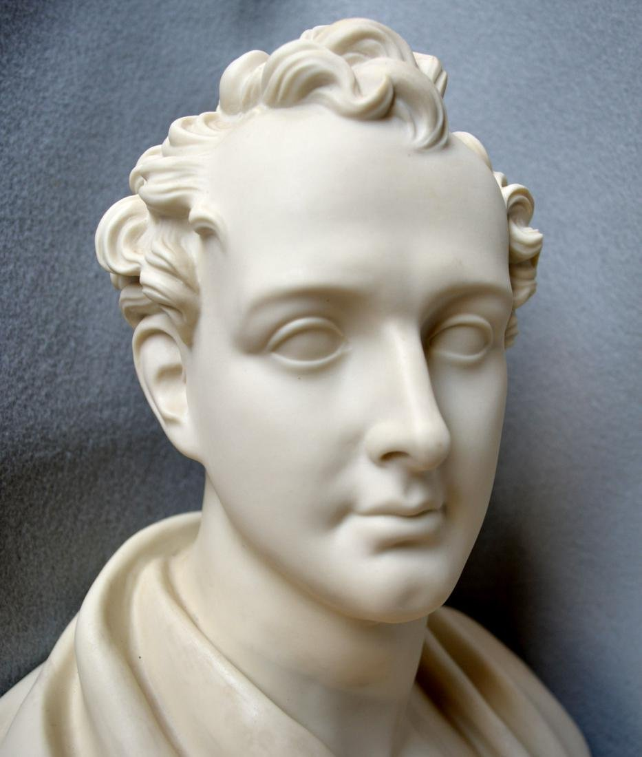 Copeland classical parian bust of Lord Byron signed - 5