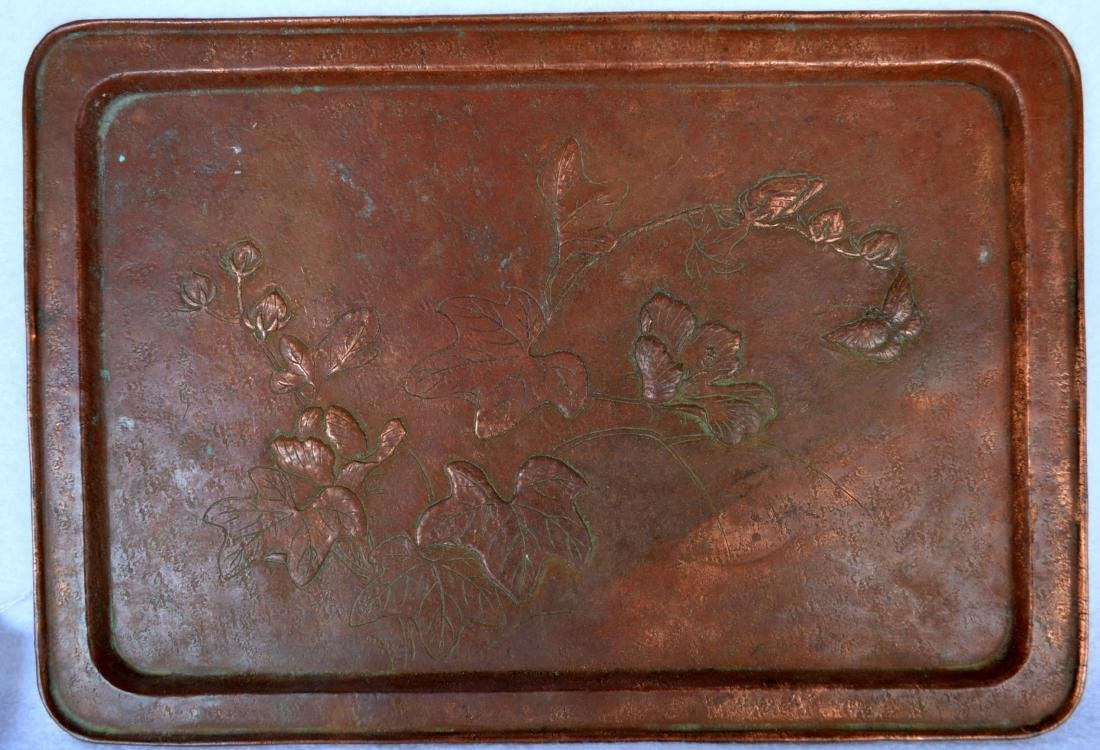 Arts and Crafts patinated hand made bronze serving tray