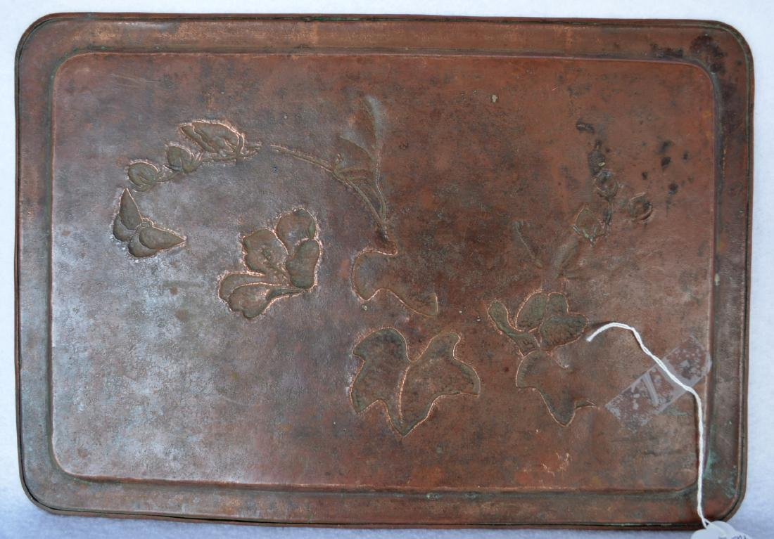Arts and Crafts patinated hand made bronze serving tray - 3