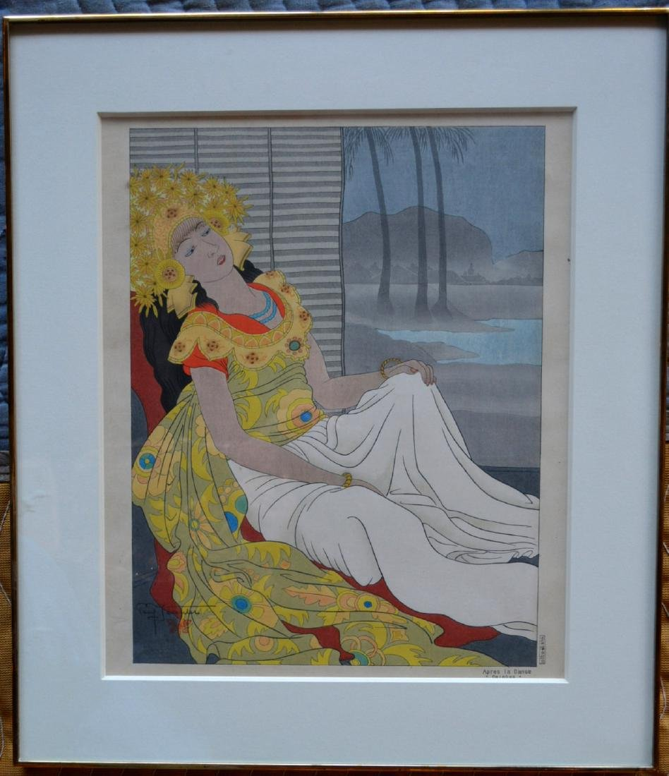 Paul Jacoulet (French 1902-1910). Wood block print of